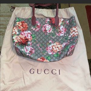 GG Blooms medium Reversible leather tote bag